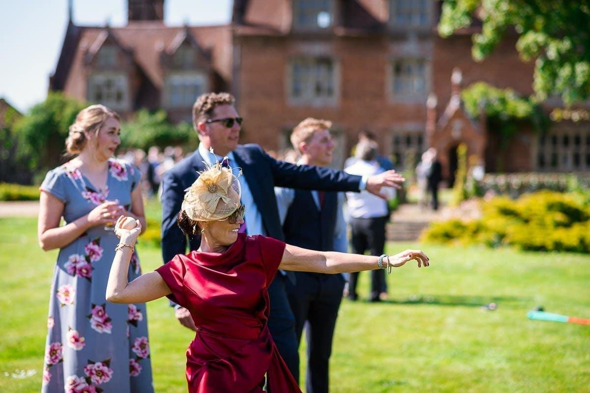 Garden games at Hautbois Hall wedding