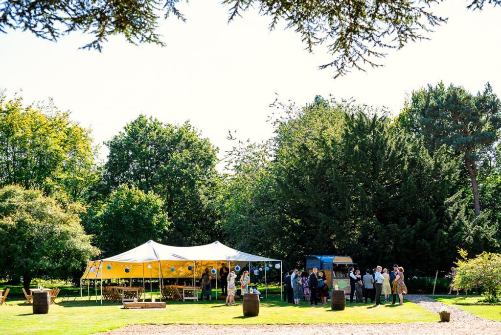 Outdoor catering at Ingoldisthrope Hall boho wedding