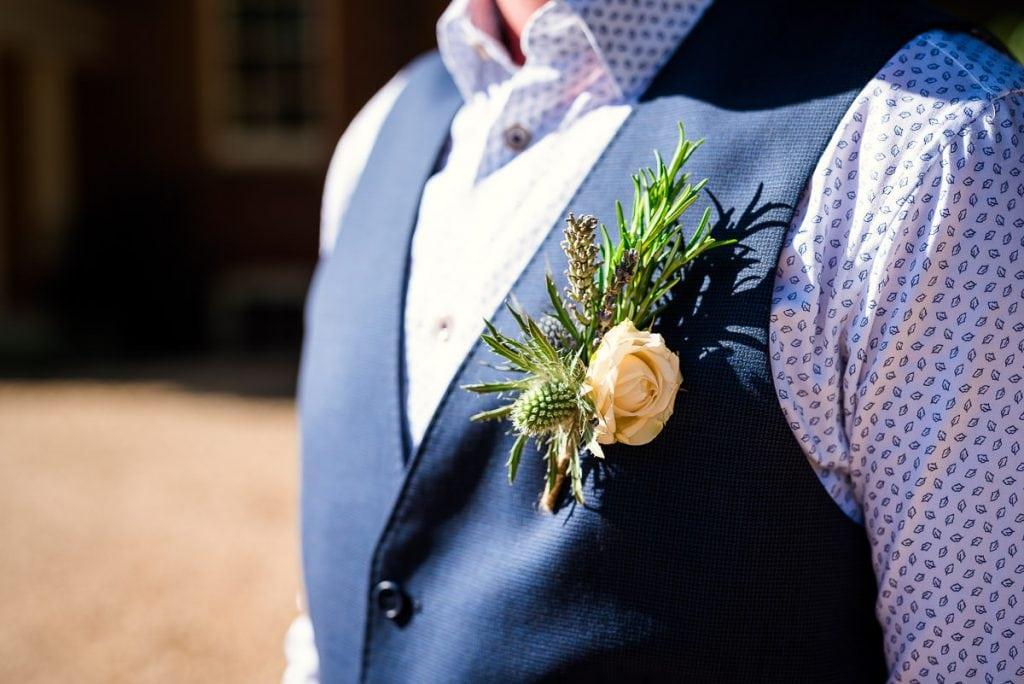 Grooms boho buttonholes flowers