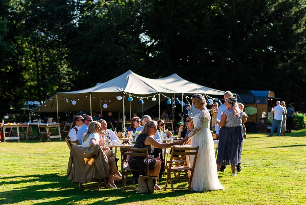 Outdoor boho wedding Reception at Ingoldisthorpe Hall