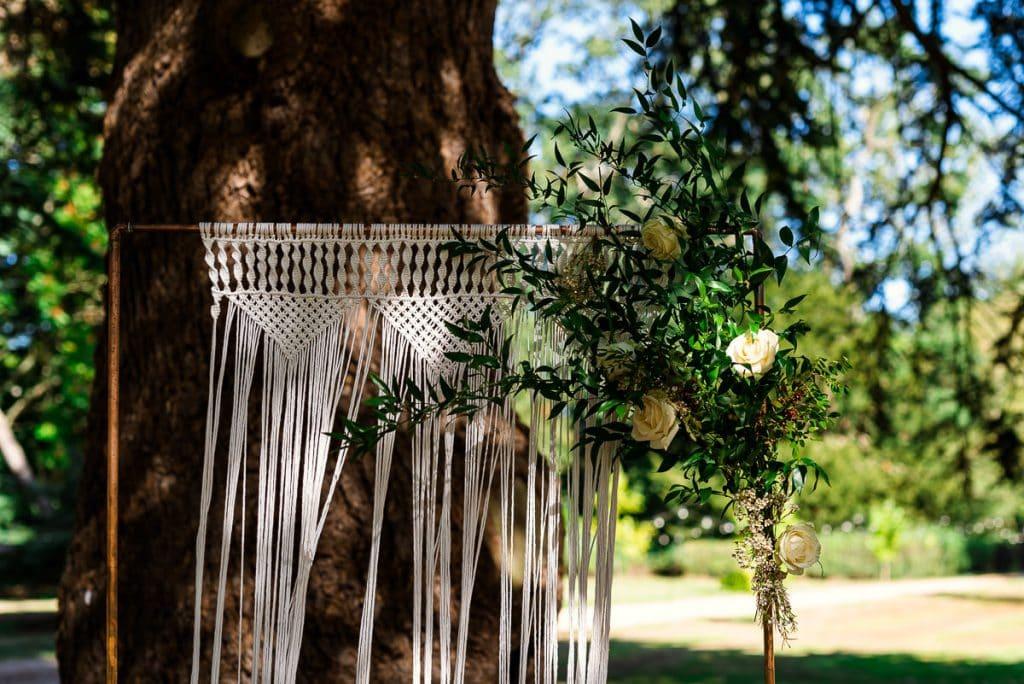 Boho macrame wedding arch
