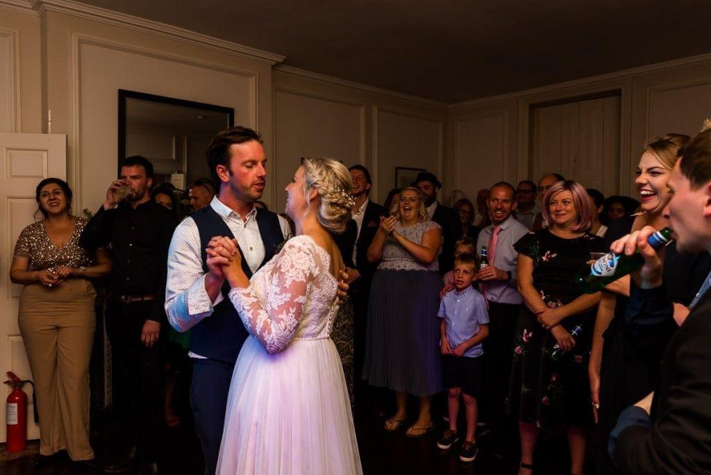 First dance during boho wedding reception at Ingoldisthorpe Hall wedding