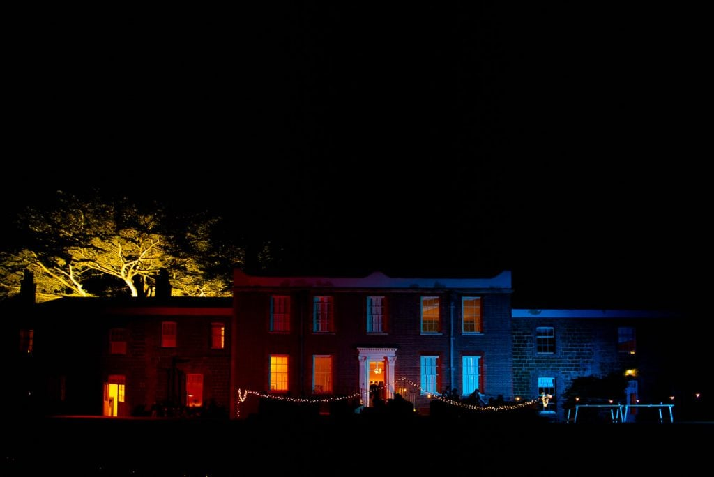 Ingoldisthorpe Hall creatively floodlight at night
