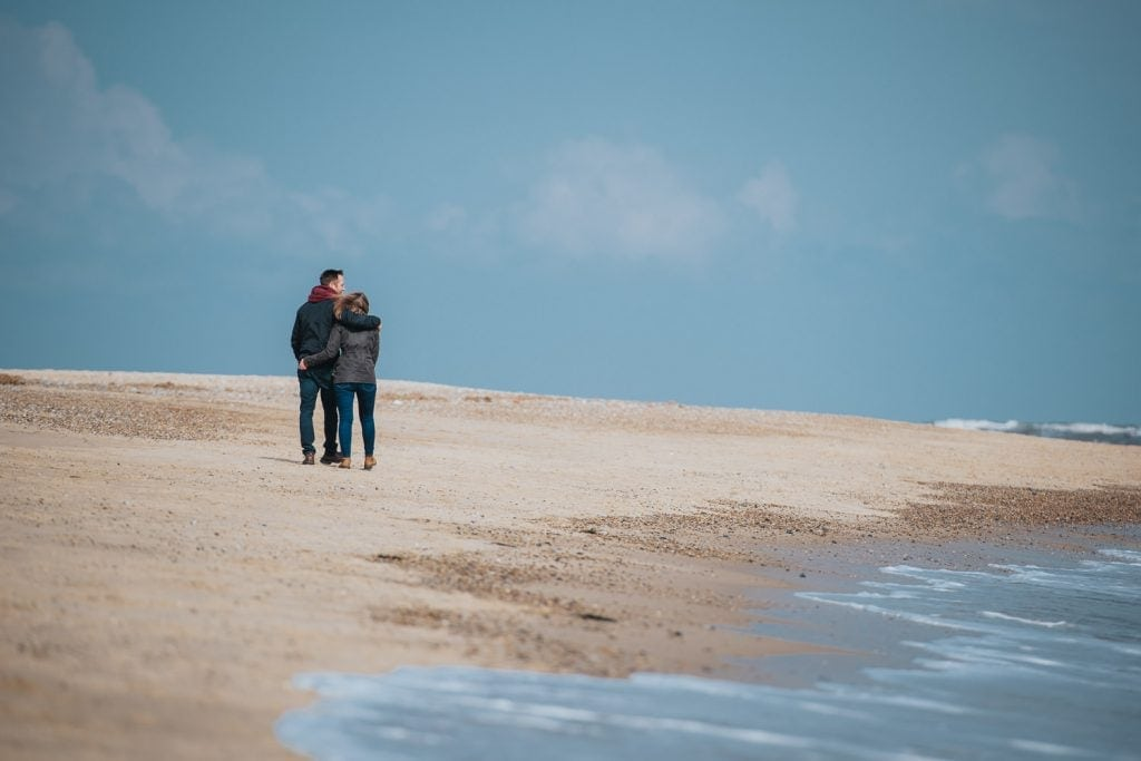 Engagement photography on Norfolk Beach