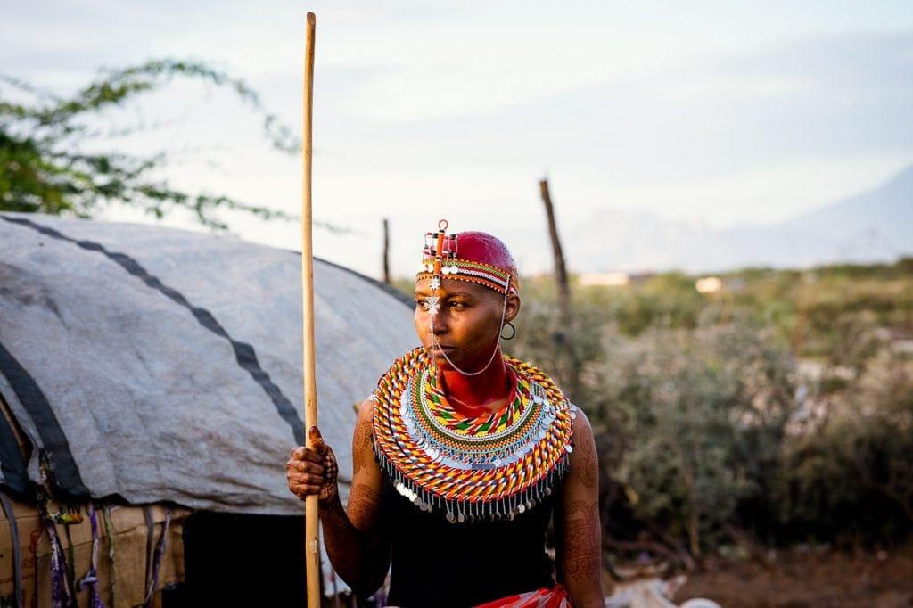 Traditional Samburu bride in full wedding headdress.
