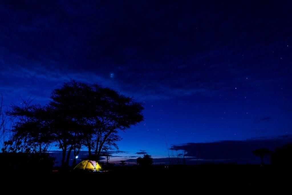 Dawn breaking over tent camp in Samburu