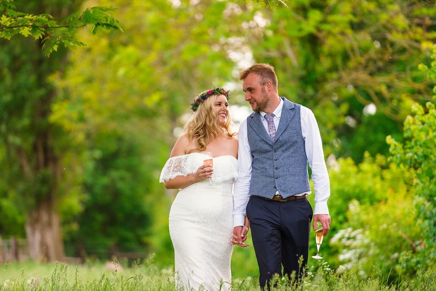 Newly weds at the Rookery Meadow festival wedding
