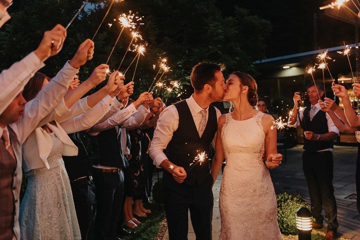 Sparkler exit at Norfolk Mead Wedding reception