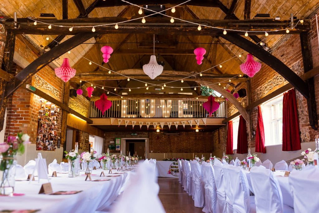 Reception decorations at Horsted Tithe Barn Wedding