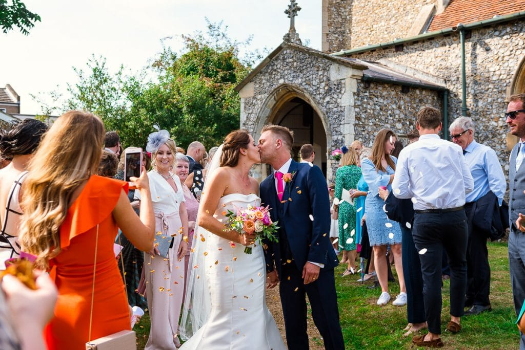 Confetti for newly married couple at All Saints Church in Horstead