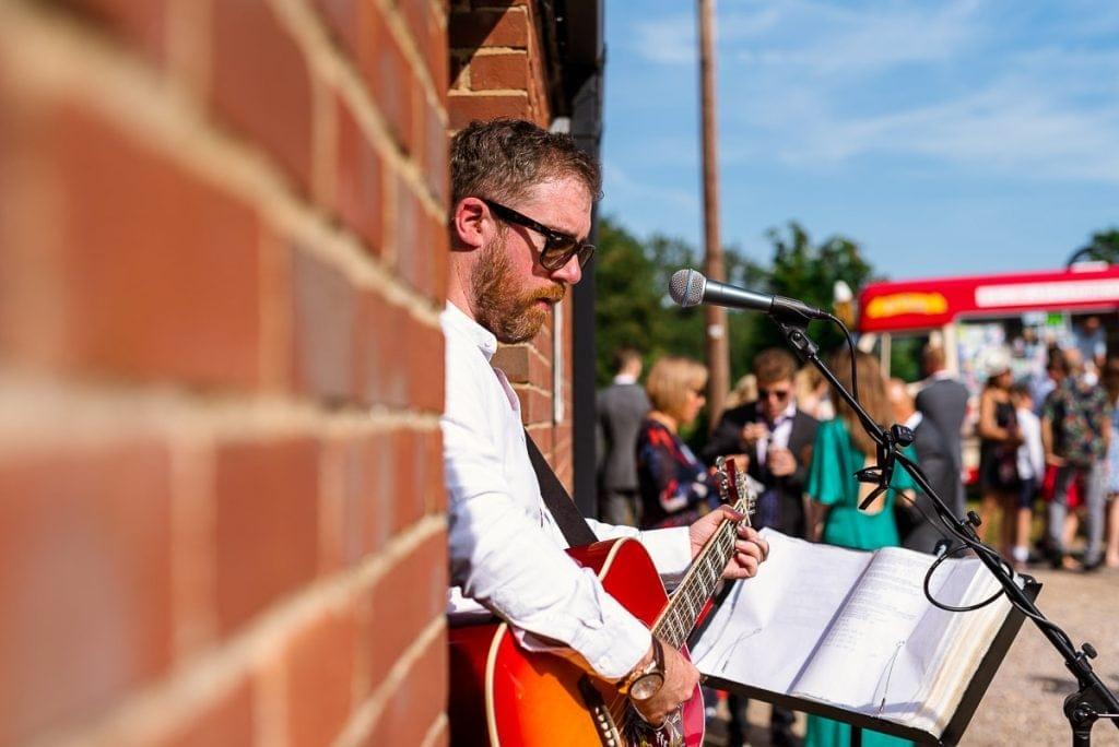 Jamie McGuire playing at Horsteaa Tithe Barn Wedding