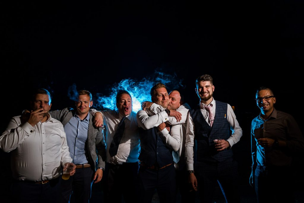 Creative groom party portraits by Andrew Kahumbu Photography