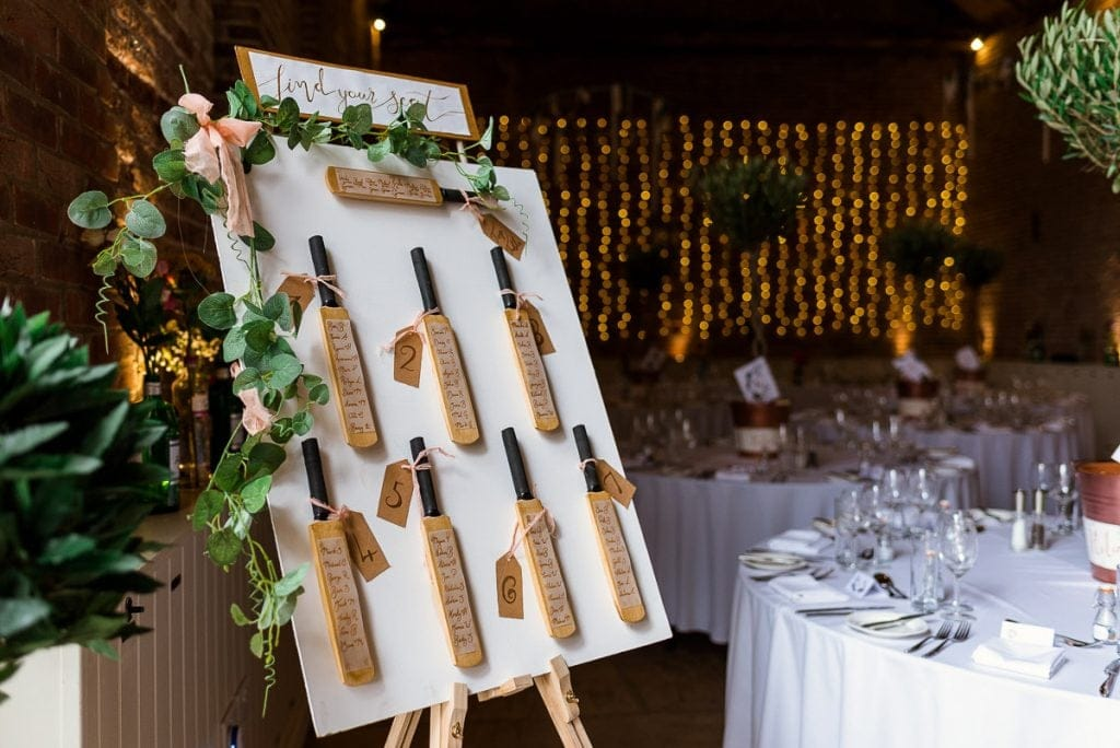 Cricket themed table plan for Manor Mews wedding