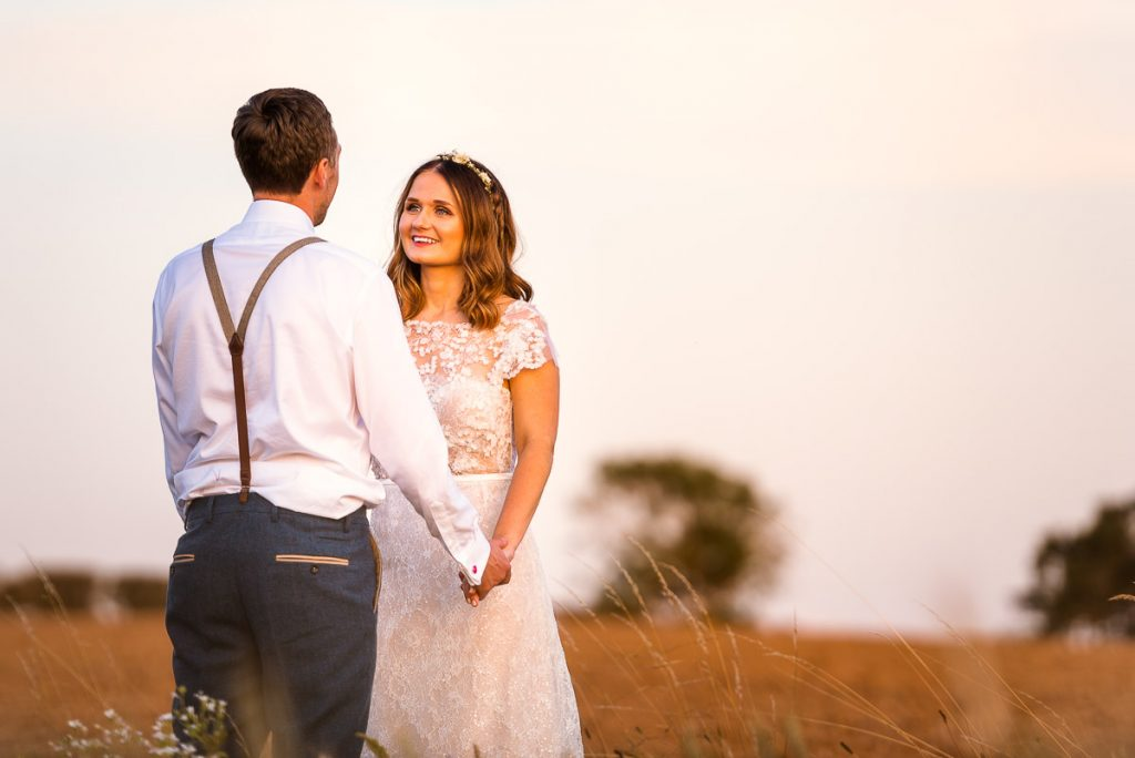 Sunset wedding portraits at Manor Mews Wedding