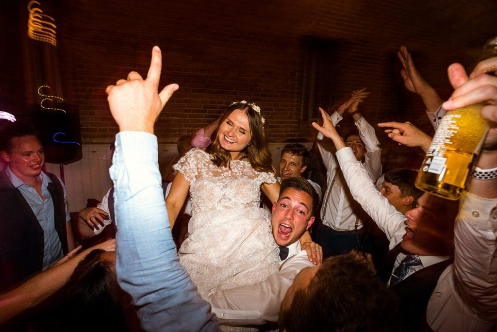 Ecstatic bride during her wedding at Manor Mews
