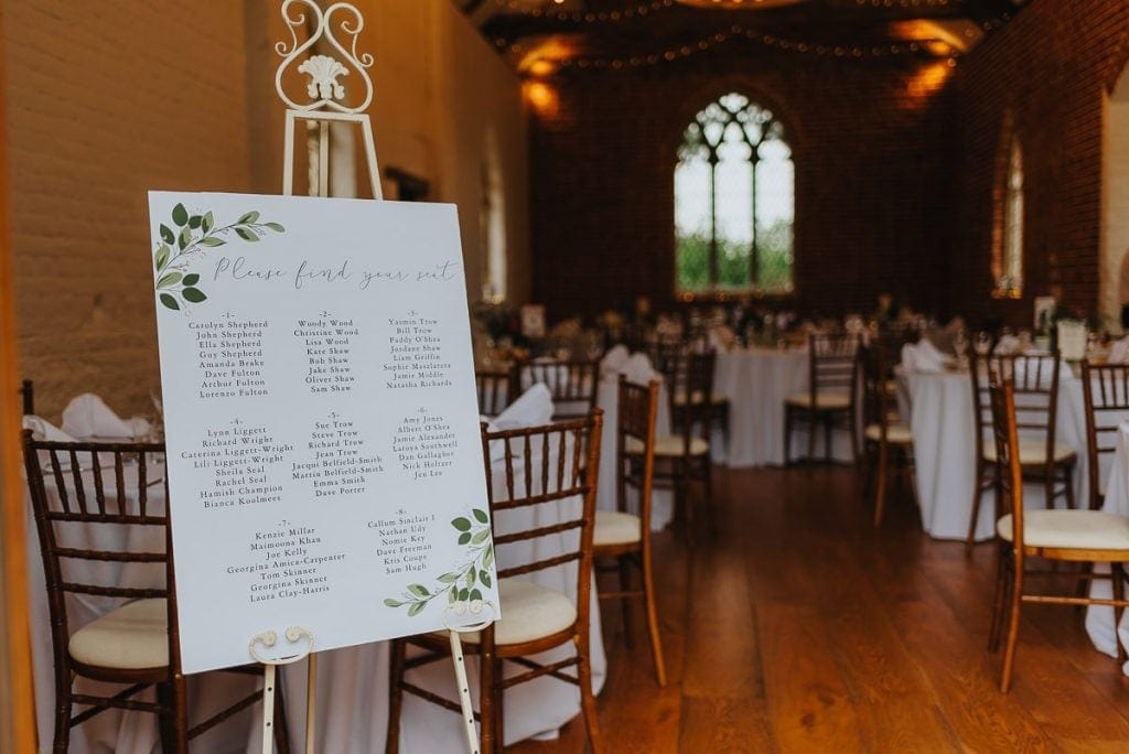 Guest table plan at The Reading Room in Alby