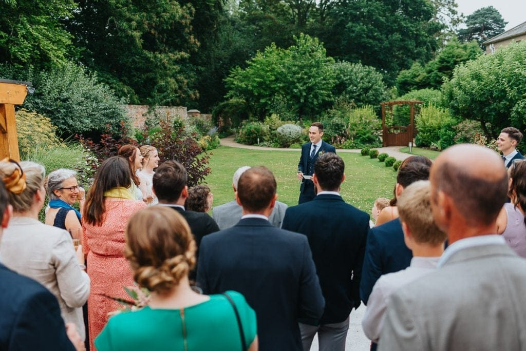 Outdoor groom speech at The Reading Room in Alby