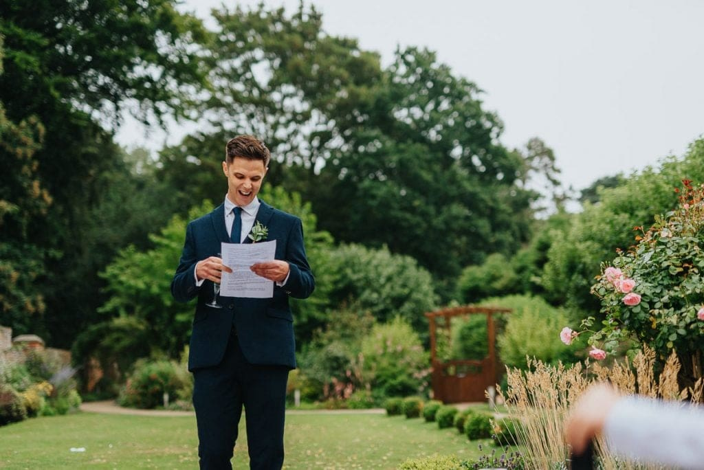 Best man's speech outside at The Reading Room wedding in Alby