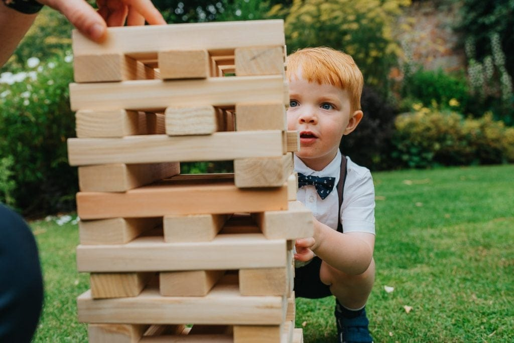 Garden Games with kids during wedding