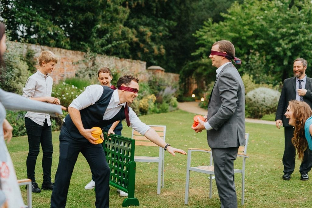 Blindfolded garden games at The Reading Room Weddings